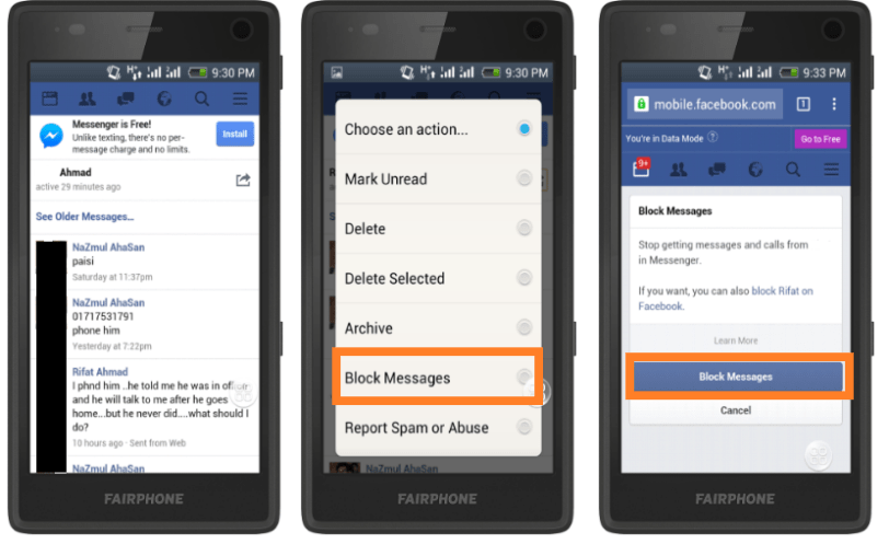 Block Messages & Calls from Friends on Facebook Mobile