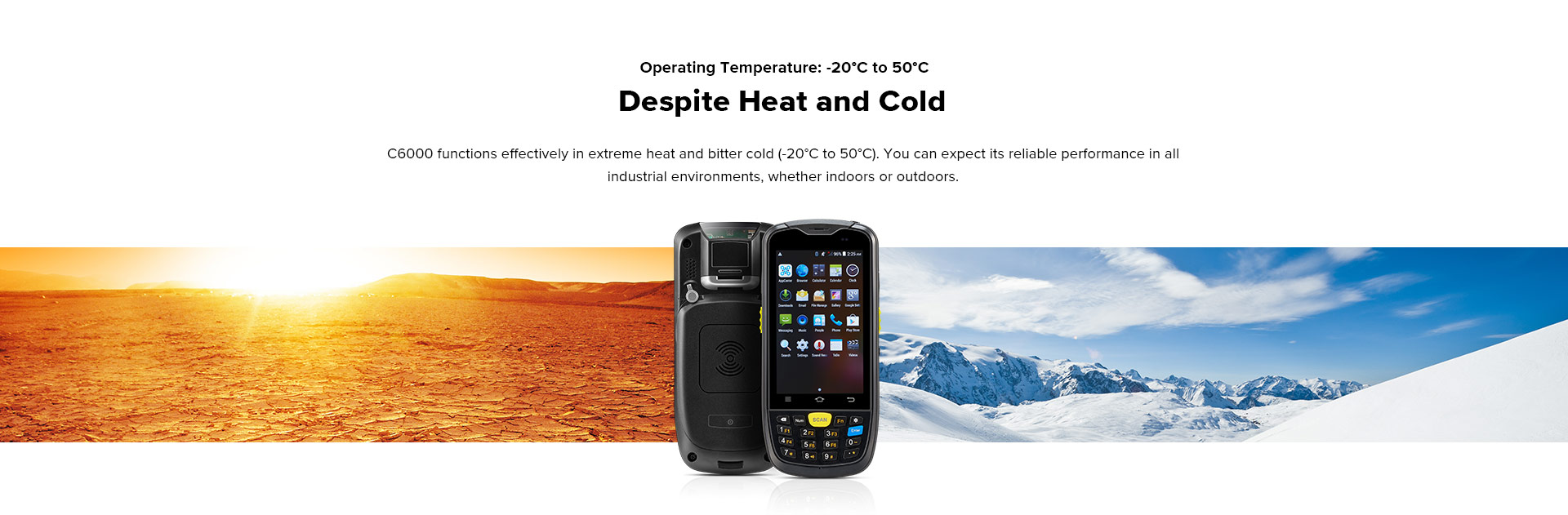 C6000 Rugged Handheld Computer Android - Temperature range