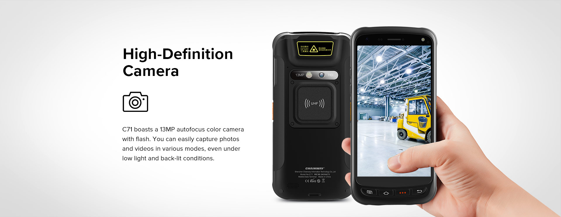 C71 - Android Industrial Mobile Computer RFID UHF - 13 MP camera