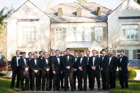 A large group of groomsmen