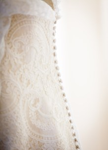 A custom-made lace wedding dress