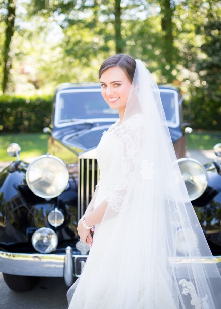Timeless bridal portrait with Rolls Royce