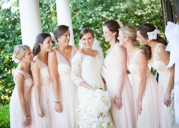 Radiant bride with lovely bridesmaids