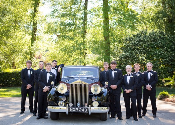 Groomsmen with Rolls Royce