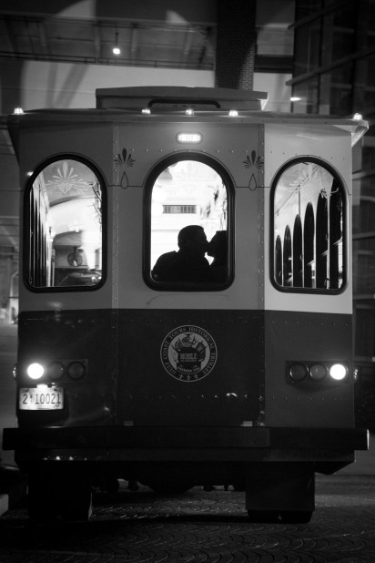 A final kiss on the trolley