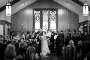 Exchanging vows at St. John's Church in Monroeville, Alabama