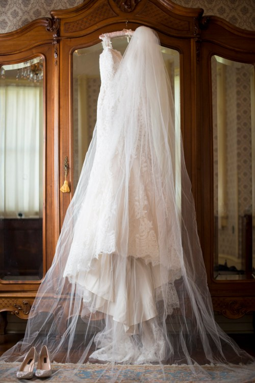 A wedding dress in an historic home.