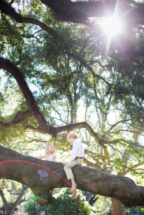 Brother and sister climb a live oak tree together