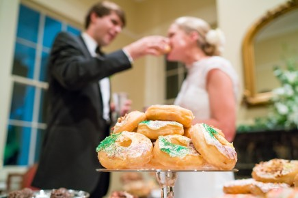 A room full of doughnuts takes the place of the traditional groom's cake