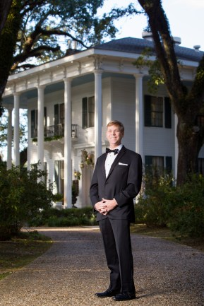 A portrait of a groom at the Bragg-Mitchell Mansion