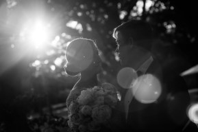 Sunset behind the bride and groom on their wedding day