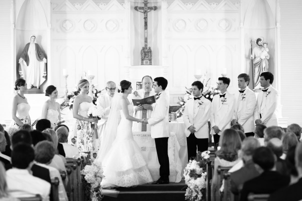 Bride and groom get married at Sacred Heart Chapel