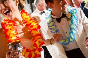 Hawaiian leis at the wedding reception