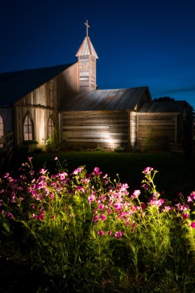 The Blackwater Farms Chapel lit rapturously after dark
