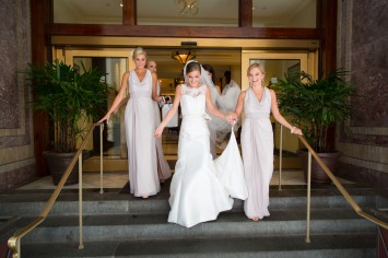 Bride and her friends leave the Battle House Hotel