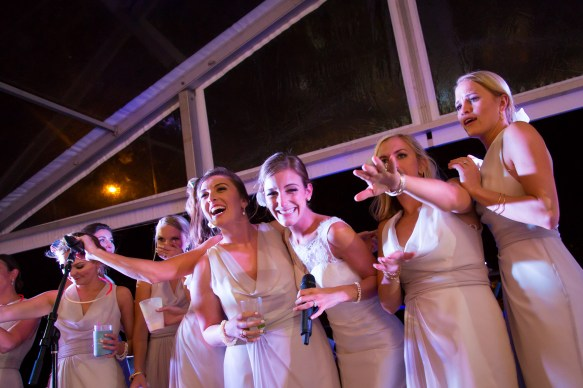 The bride has a blast with her best friends
