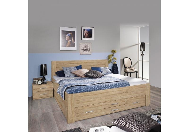 lit adulte isoka 140 cm avec tiroirs et
