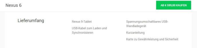 nexus 6 lieferumfang google store nexus 9