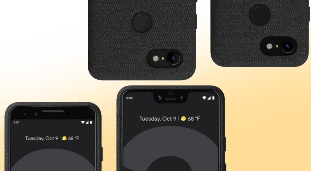 Google Pixel 3 und Pixel 3 XL zeigen sich in Presserender mit original Case