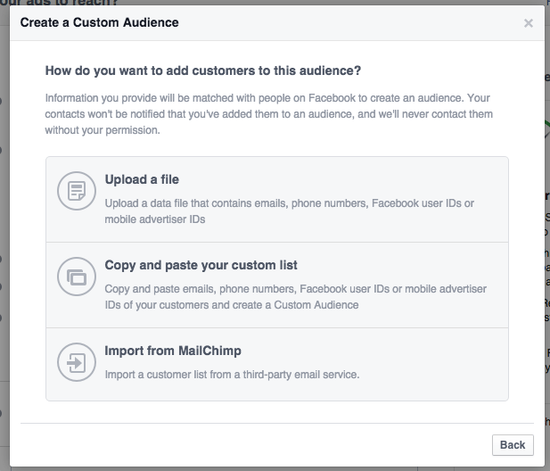 - facebook custom audience - Facebook doesn't sell user data. No one would buy it.