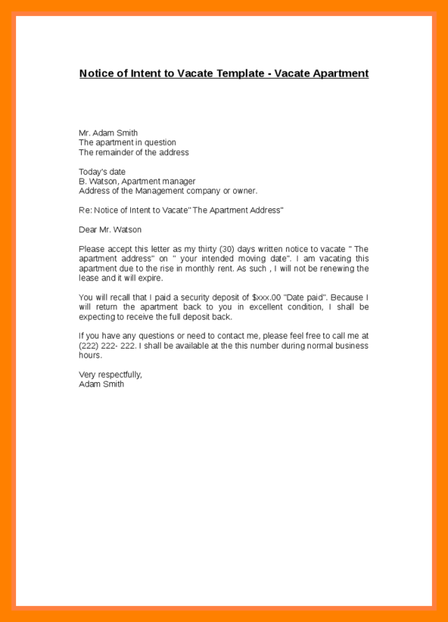 Notice Of Intent To Relocate Sample Letter Mobile Discoveries. Sample Day Notice To Vacate Apartment ...