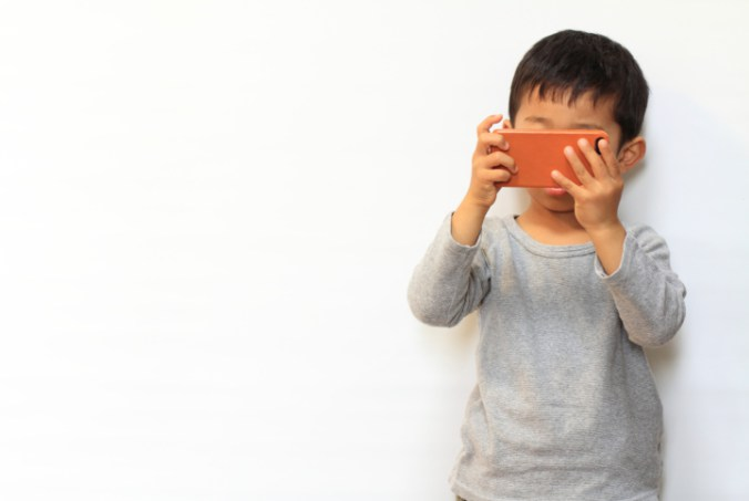 Boy with smartphone