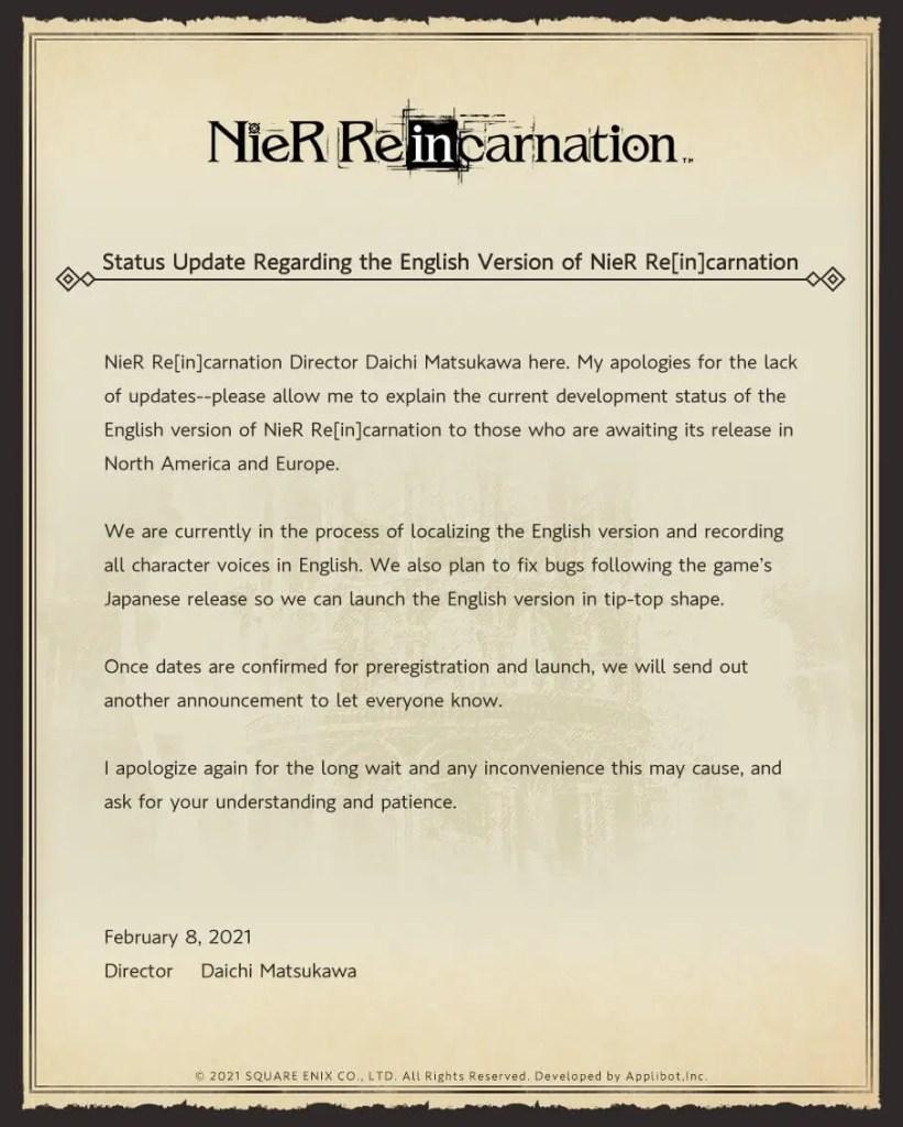 Nier Reincarnation English Version News