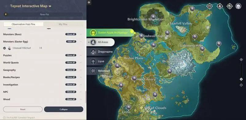 Unusual Hilichurl in theInteractive map