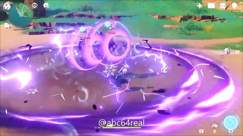 Ayaka fighting an electro abyss mage