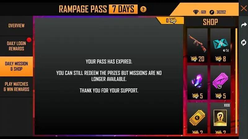 Rampage Pass  shop