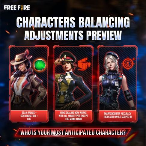 free fire character adjustment