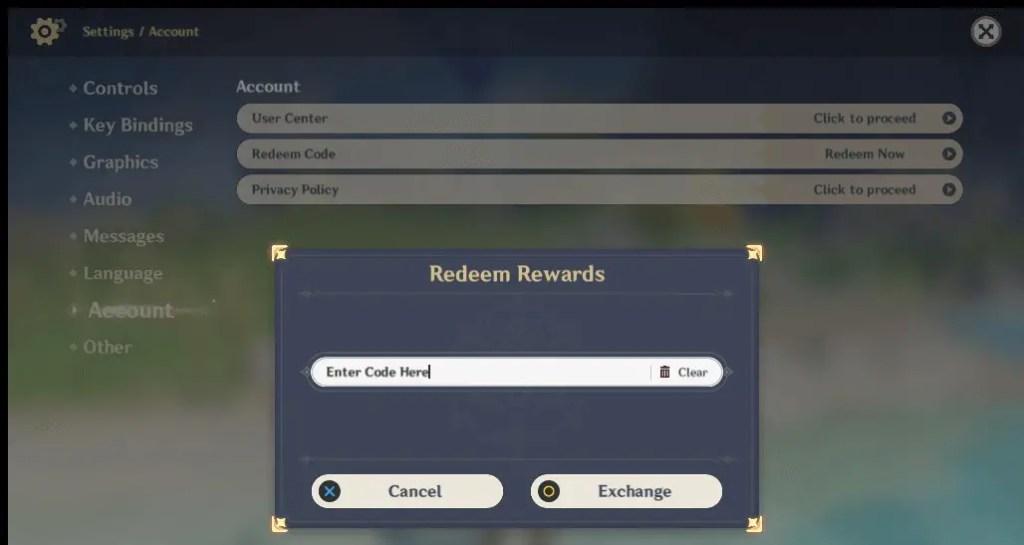 Genshin Impact How to Redeem Codes