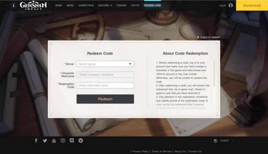 Genshin Impact Redeem Codes Website