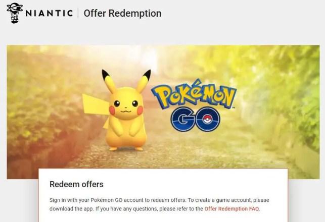 Pokémon Go Redemption Centre Website