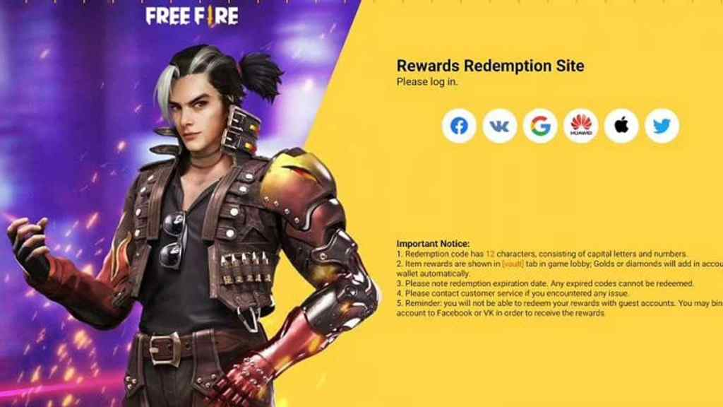 Free Fire redeem codes website, with the Faded Wheel Event