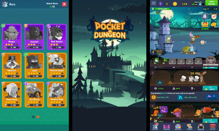 Pocket Dungeon title screen and other important displays.