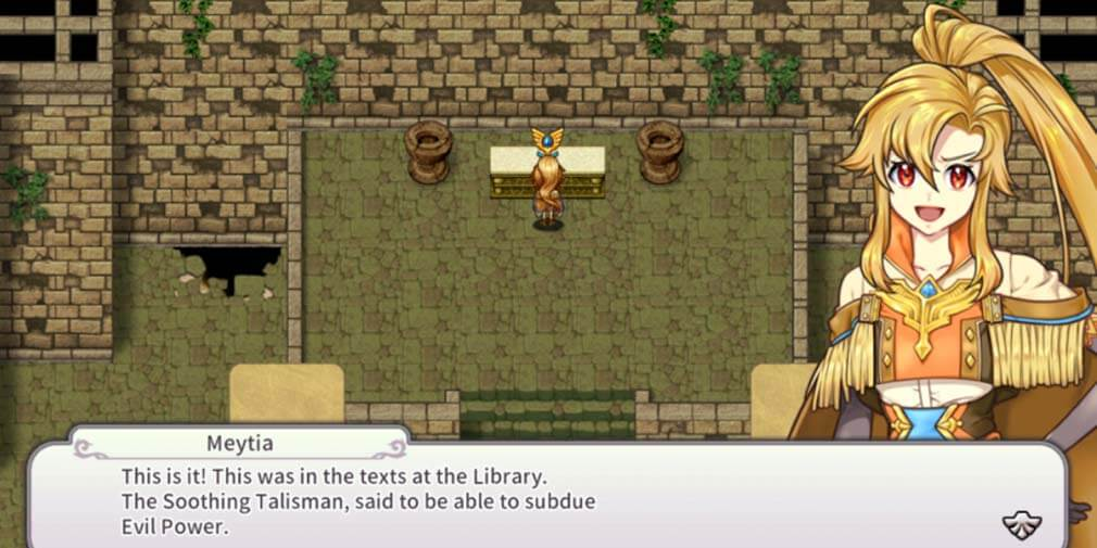 Meytia talking about the powerful talismans found in RPG Infinite Links