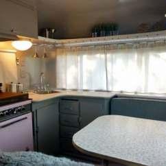 Mobile Kitchen Trailer Cabinet Pull Out Shelves Vintage Camper Restoration: 1962 Streamline Duchess ...