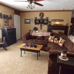 Country Decorated Living Rooms Pictures With Black Leather Sofa Primitive Manufactured Home Decorating Ideas Family Room