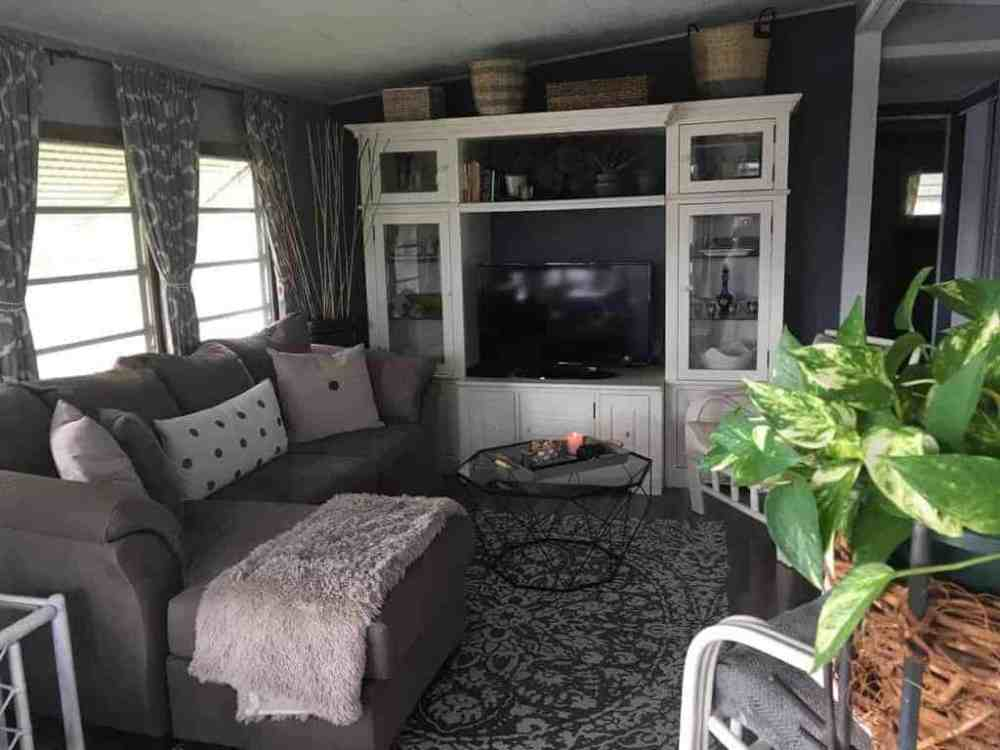 medium resolution of 1964 chateau use curtains and dark paint to give small mobile home living room warmth
