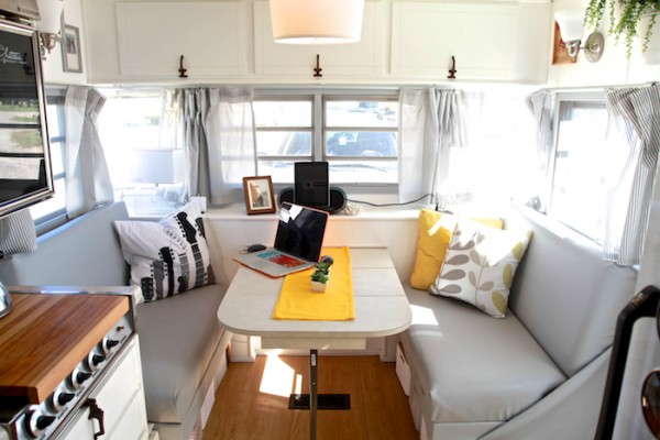 kitchen makeovers ideas double doors cozy vintage camper renovation | mobile home living