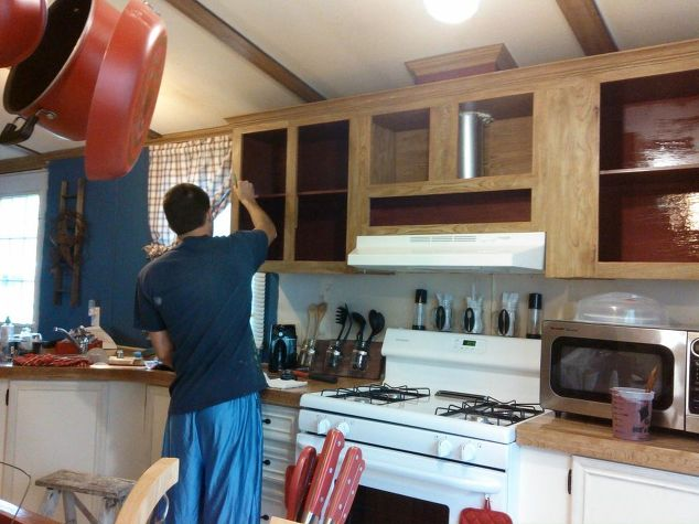 used kitchen cabinets for sale islands cheap mobile home gets rustic farmhouse makeover ...