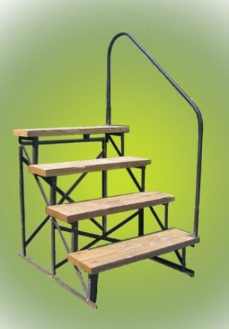 Exterior Hand Rails For Steps By Stylecrest For The Manufactured | Wood Mobile Home Steps | Double Wide | Pressure Treated | Temporary | Wood Camper | Stained Wood