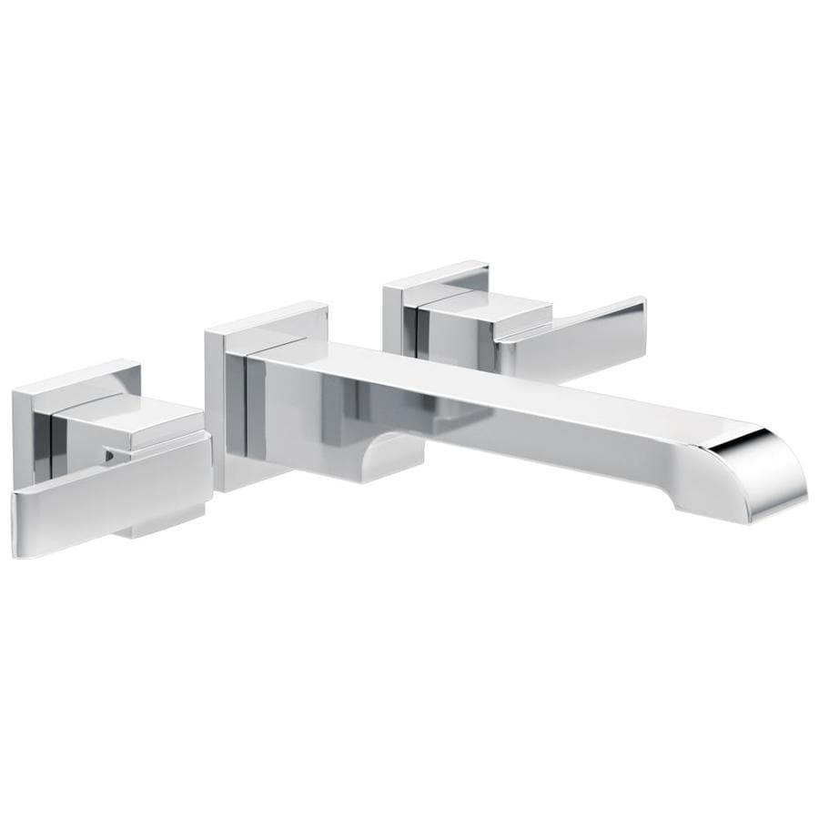 delta ara chrome 2 handle wall mount watersense bathroom sink faucet in the bathroom sink faucets department at lowes com