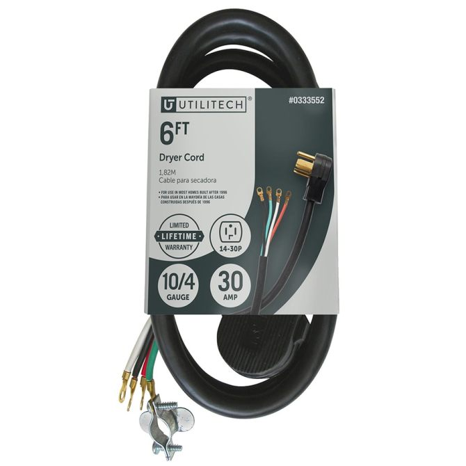 utilitech 6ft 4prong black dryer appliance power cord