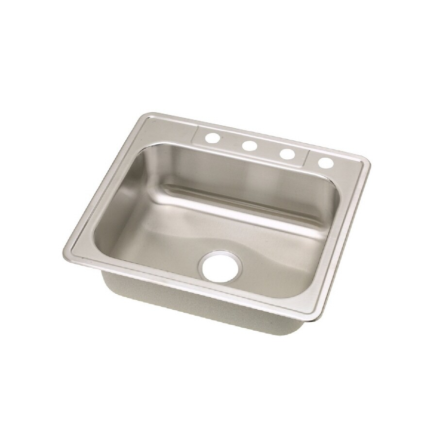 elkay tradition drop in 25 in x 22 in stainless single bowl kitchen sink in the kitchen sinks department at lowes com
