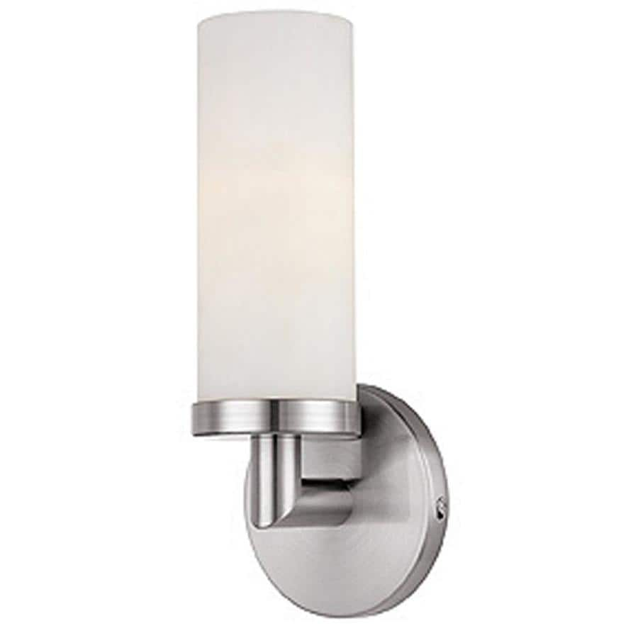 access lighting aqueous 4 75 in w 1 light brushed steel transitional wall sconce in the wall sconces department at lowes com
