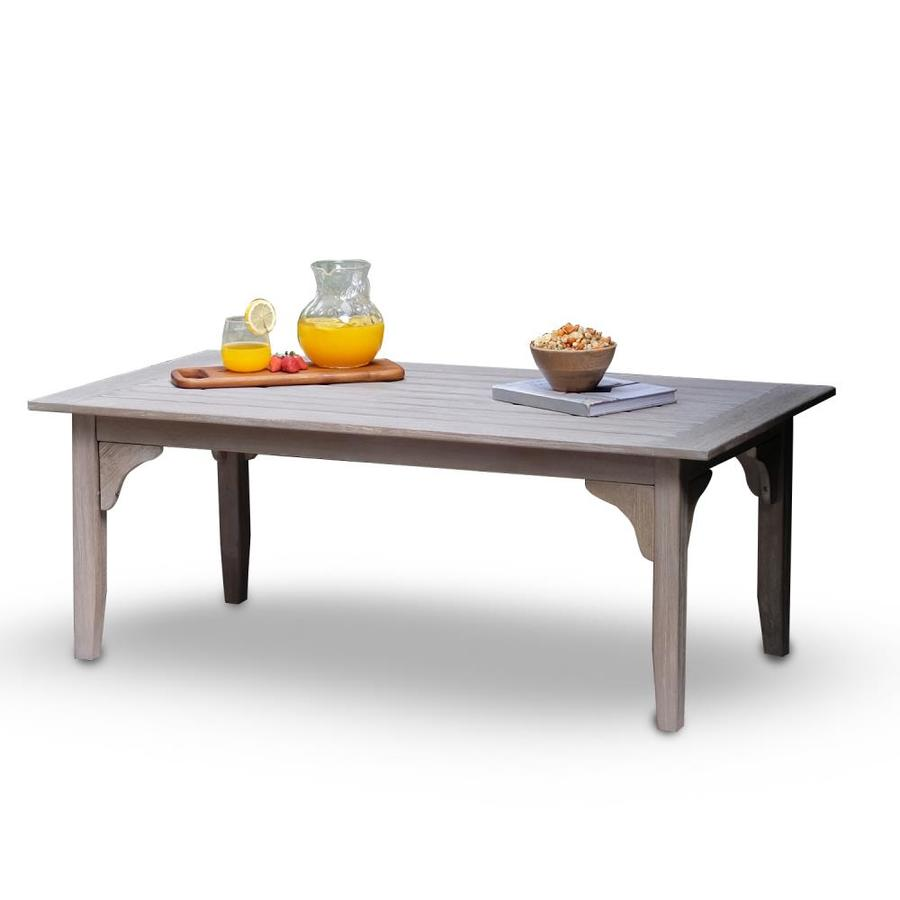 cambridge casual colton weathered gray teak outdoor coffee table in the patio tables department at lowes com