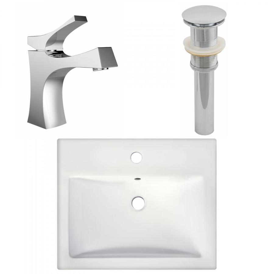 american imaginations xena farmhouse white ceramic drop in or undermount rectangular bathroom sink with faucet drain included 17 25 in x 20 75 in in the bathroom sinks department at lowes com