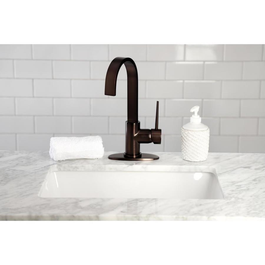 kingston brass new york oil rubbed bronze 1 handle deck mount bar and prep handle kitchen faucet deck plate included in the kitchen faucets department at lowes com
